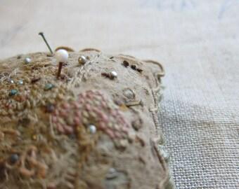 Antique pin cushion, vintage pin cushion, pin cushion, handmade pin cushion, upcycle, vintage haberdashery