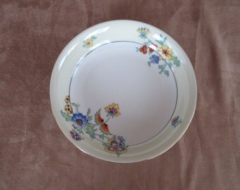 "Vintage Epiag Aich 7 3/4"" Bowl, Made in Czechoslovakia, Flowers with Gold Trim"