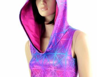 Northern Lights Cracked Tile Holographic Sleeveless Crop Hoodie w/Neon Pink Hood Liner Lycra Spandex Rave Festival 154491