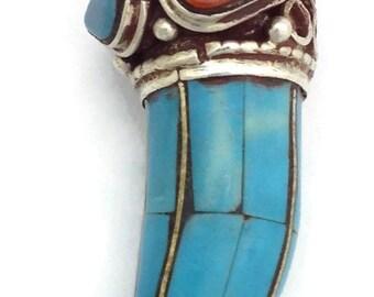 Handmade Unicorn Horn Tibetan Silver Pendant