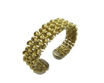 Vintage Cuff - Bamboo Gold Tone Cuff, Bendable Cuff, Bamboo Branch Bracelet