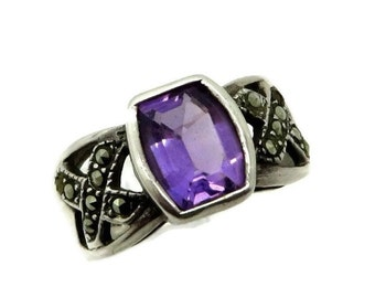 Vintage Amethyst Marcasite Ring, Sterling Silver Wide Band Ring, February Birthstone, Size 7.5