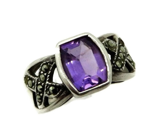 Amethyst Marcasite Ring, Vintage Sterling Silver Ring, Wide Band February Birthstone Size 7.5