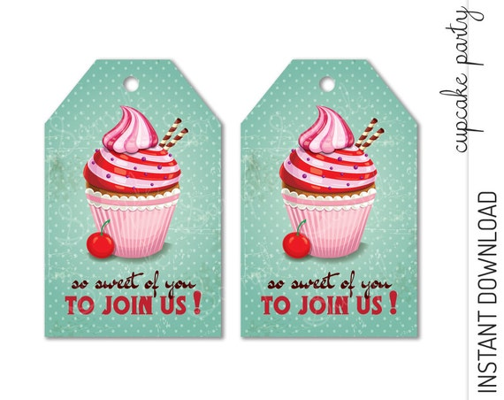 Cupcake Favor Tag INSTANT DOWNLOAD