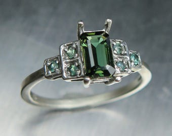 0.60cts Natural green pleochroic Kornerupine & alexandrite Sterling 925 silver  ring (available in gold, Platinum, Palladium) all sizes