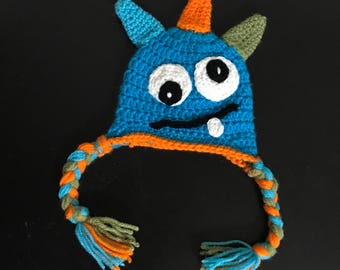 Crocheted Monster Baby Hat - Beanie - heart - Ready To Ship - 0 to 3 months
