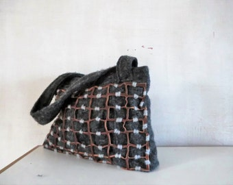Wool leather bag, eco shoulderbag, upcycled Italian Dutch design, gift for her. JJePa