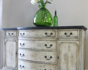 SOLD!!!!!! Vintage Antique French Country Design Hand Painted Shabby Chic Weathered Rustic Buffet Sideboard Media Console