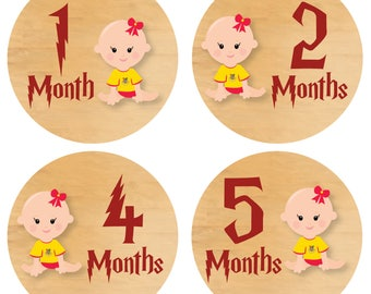 Harry Potter Baby GIRL Monthly Stickers - Month Milestones Harry Potter Baby Stickers Monthly Harry Potter GIRL Tummy Tags Months - Printed