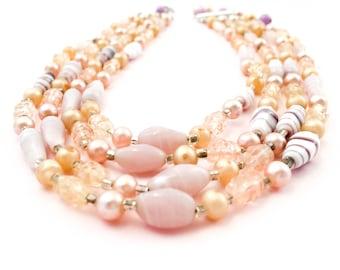 Vintage Bead Necklace- Vintage Japan Necklace- Vintage Multistrand Necklace- Gift For Her- Mom Gift- Fashionista Gift