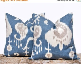 """SALE ENDS SOON Blue Ikat Pillow Covers, Blue and Cream Pillowcases, Ikat Pillow Covers, Decorative Pillows for Couch, Set of 2, 20 x 20"""""""
