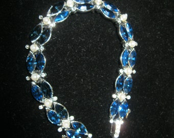 Sapphire Blue Rhinestone and Faux Pearl Bracelet and Earrings