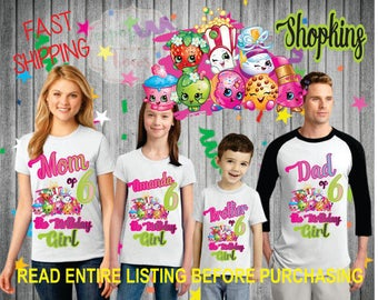 Shopkins theme birthday Girl theme Shirts for the entire family Girl Dad Mom  Age Name Custom Raglan T-shirt Strawberry donut lipstick