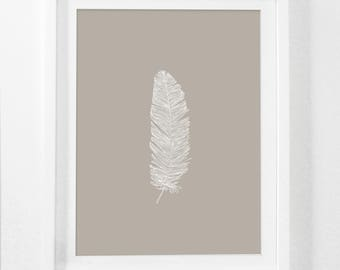 Feather Print, Beige Feather Print, White Feather on Beige, Feather Art, Printable Beige Feather Wall Print, Beige Feather Wall Art Digital