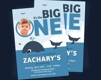 Whale Birthday Invitation, Whale Invitation, Blue Whale Invitation, Whale Party Invite, 1st Birthday, Personalized