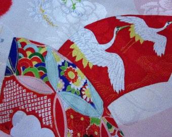 Red floral kimono fabric/ Turu/ peony/ Vintage Kimono fabric