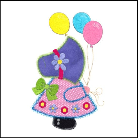 "Balloon Sunbonnet Sue applique machine embroidery design. Actual design size is 6"" X 9 (5/8)"".  Instant download now available."