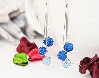 Long Silver Earrings-Long Dangle Earrings-Chain Earrings-Elegant Party Earrings-Long Blue Earrings-Evening Earrings-Bead Shamballa Earrings