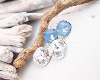 Pastel baby blue white Swarovski crystal earrings Wedding bridal bridesmaids earrings Sterling Silver jewellery Square cushion cut crystal 1