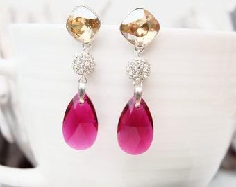 Long Sterling Silver Swarovski Crystal Earring Jewellery-Dangle Drop Bridesmaids Wedding Earrings-Square Teardrop Ruby Red Champagne Earring