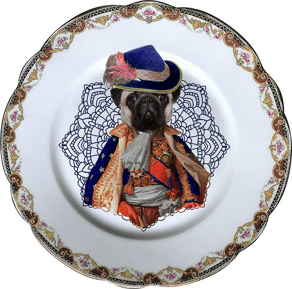 Lord Pug - Carlino - Vintage Porcelain Plate - #0473