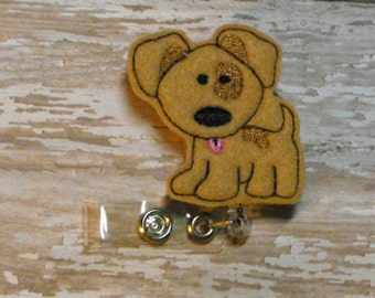 Tan Spot Puppy Dog felt badge reel, name badge holder, nurse badge, ID holder, badge reel, retractable badge clip,feltie badge reel