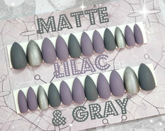 Matte Lilac & Gray Press On Nails | Grey Stiletto Nails | Custom Fake Nails | False Nails | Acrylic Nails | Glue On Nails | Artificial Nails