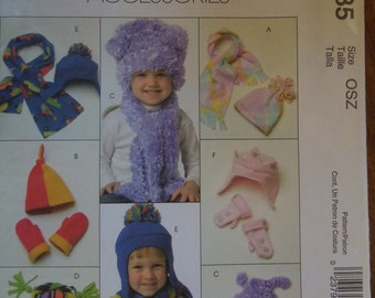McCalls M4985, infants, toddlers, hats, mittens and scarves, UNCUT sewing pattern, craft supplies