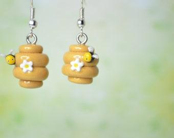 Kawaii/ Cute Bee Hive Earrings with a Tiny Bee