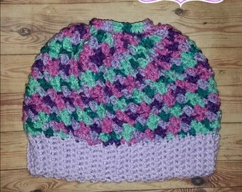 Crochet Messy Bun Hat #2