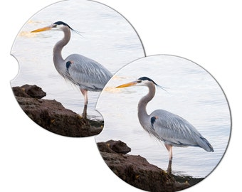 Custom Personalized Sandstone Car Coaster Set Of Two - Heron -  Free Standard Shipping
