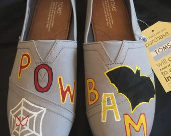 Hand Painted SuperHero shoes (Spiderman and Batman inspired)