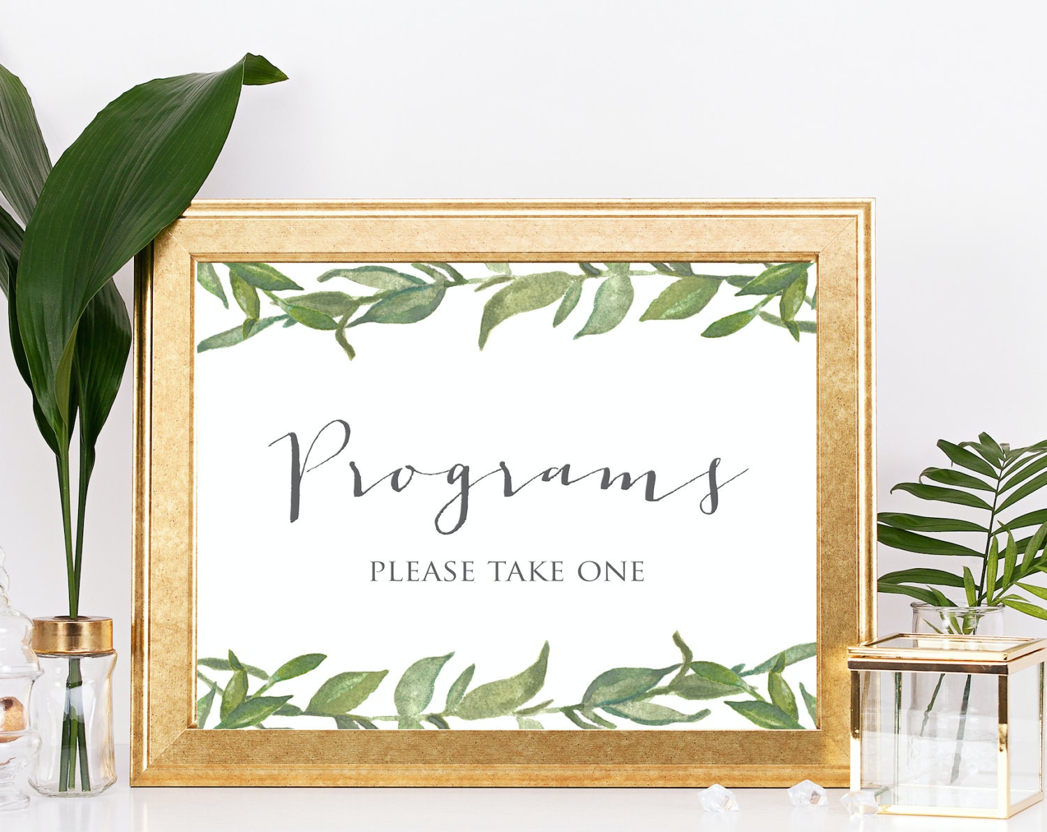 Wedding Programs Sign Printable Green Leafy Leaves Greenery Signage INSTANT DOWNLOAD 8x10 Digital Ceremony Signs