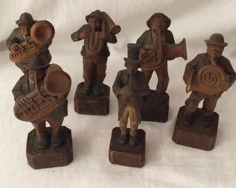6 Vintage Wood Hand Carved ANRI Musician Figurines Old Wooden Figurines Instruments Horns Anri Style Figurines