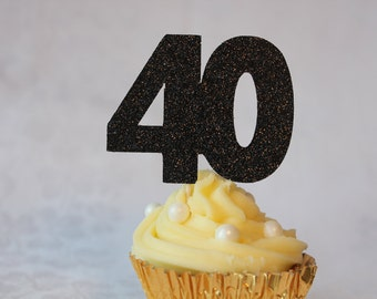 40th Birthday Glitter Cupcake Topper, Set of 12, Various Colours Available