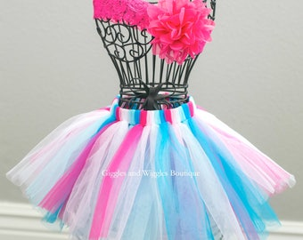 Newborn girl tutu skirt and baby headband set, pink and blue, Baby tutu, infant headbands, photo prop, baby shower gift, baby girl clothes