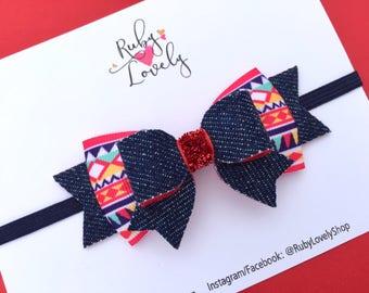 Denim Hair Bow, Denim Headband, Red White Blue Bow Headband. Summer Headband, Tribal Print Bow, Summer Bow, Hair Bows, Fourth July hair bow