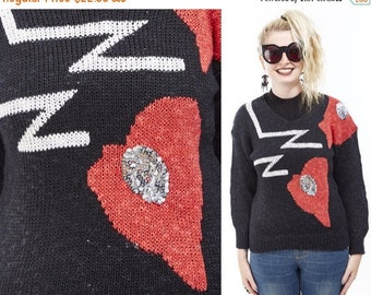 Vtg 80s 90s Trophy Sequin Sparkly UGLY CHRISTMAS SWEATER Valentines Day Novelty Print Bling Kitschy Retro Geometric colorblock Heart Shaped