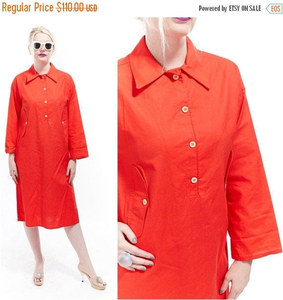 Vtg 70s CALVIN KLEIN Preppy Nautical Shirt DRESS Tailored Minimal Chic Tunic Shift Boho Sheath Utilitarian Classic Mod Sophisticated Modern