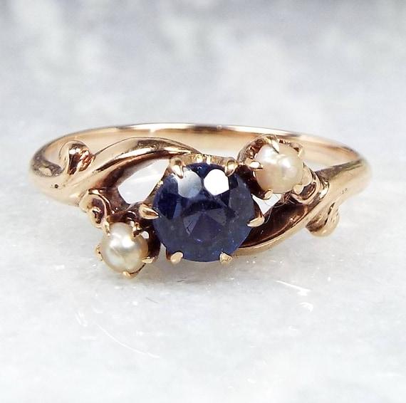 Antique Edwardian Art Nouveau 9ct Gold Blue Iolite & Pearl Trilogy Ring / Size N 1/2