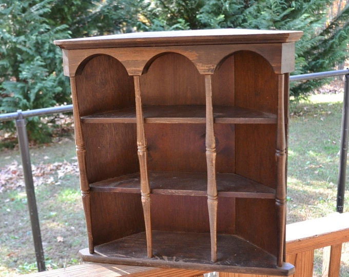 Vintage Wooden Corner Shelf Collectible Display Wood Spindles Knick Knack Cabinet Panchosporch