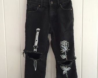 Kids custom black denim jeans