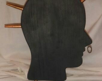 Punk Rocker Wooden Silhlouette//Black//Copper//Welder Parts//Copper Gear