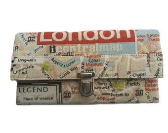 Large wallet ladies London map purse wallet