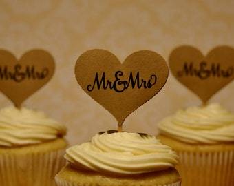 wedding cupcake toppers, Mr and Mrs cupcake toppers, kraft wedding cupcake toppers,  12 toppers