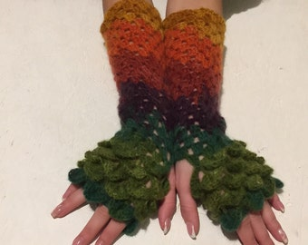 new long crochet gloves Fingerless crocodile stich women fingerless gloves dragon scale  women's gloves women's Arm Warmers  gift Accessory