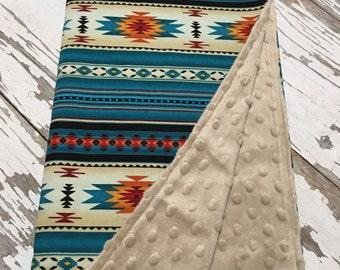 Western Minky Blanket, Aztec Minky Blanket, personalization available