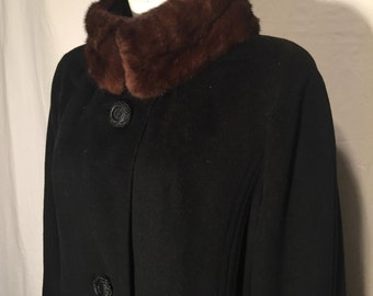 Vintage Mink Collar Black Wool Coat with Fabulous Buttons 60s Mar-Del By Rice Plus Size 1X 2X