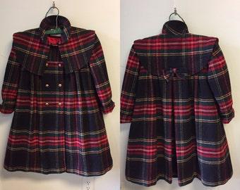 Vintage Rothschild Wool Child's Coat/Girl's Plaid Wool Coat/Girl's Coat by Rothschild/1950's Girl's Coat/Caplet Swing Coat