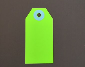 Neon Yellow Parcel Tags 20 Tags, Gift Tags, Parcel Tags, Sale Tags